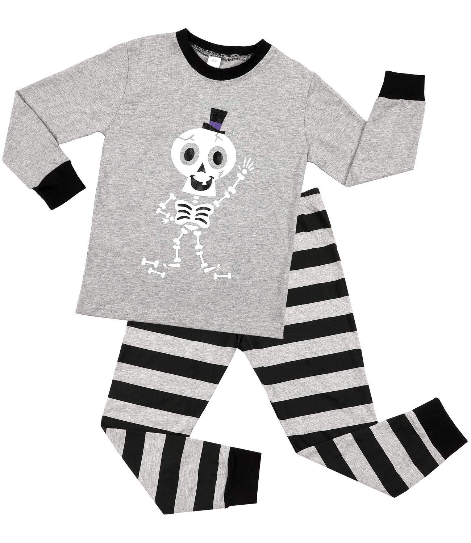 Sociala Long Sleeve Pajamas for Kids 100 Cotton Little Boys Pjs Sets Gray 7
