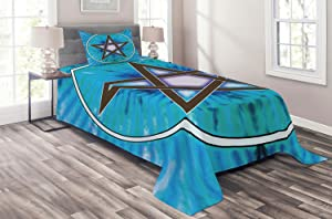 Ambesonne Pentacle Coverlet, Interlaced Pentagram Star Framed by Circular Shape on Beam Hand Drawn Pattern, 2 Piece Decorative Quilted Bedspread Set with 1 Pillow Sham, Twin Size, Azure Blue