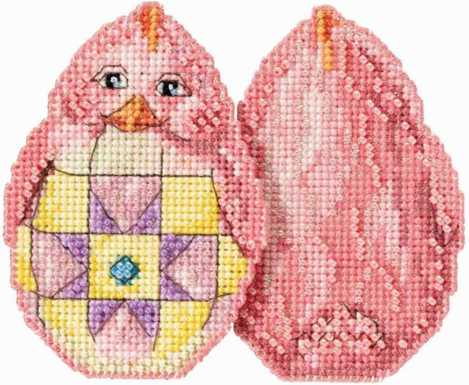Pink Chick Beaded Counted Cross Stitch Easter Ornament Kit Mill Hill 2017 Jim Shore JS181715
