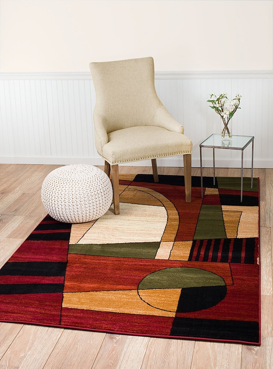 Summit 14 New Area Rug Burgundy Green Black Modern Abstract Many Sizes Available