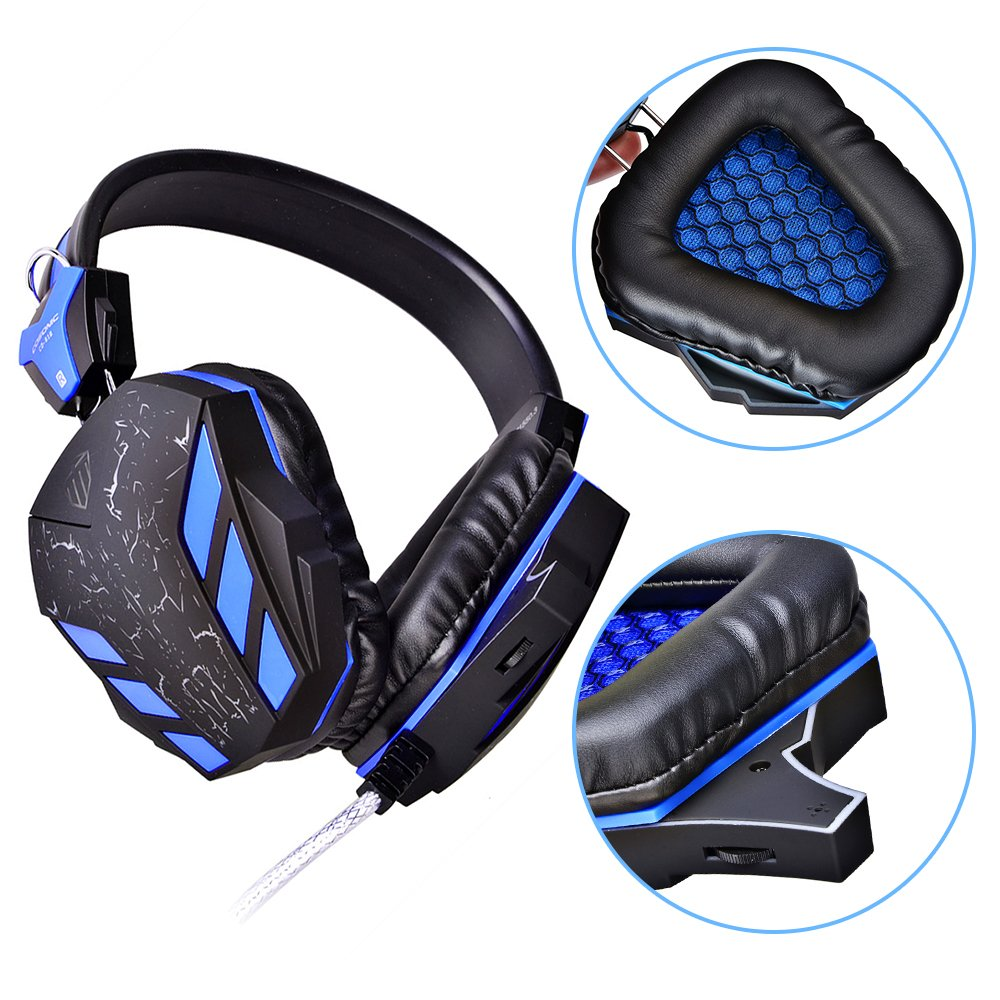 PC Gaming Headset, Topoint Comfortable 3.5mm Stereo Over-ear USB Gaming Headphone with Mic and LED Color Gradient light for Computer/Laptop-Blue