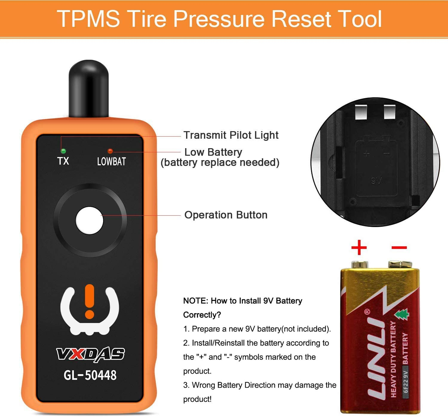 Arozk Gl-50448 TPMS Tire Pressure Monitor Sensor Auto Relearn Reset Activation Tool OEC-T5 Upgraded EL50448 for GM Series Vehicle 2006-2020