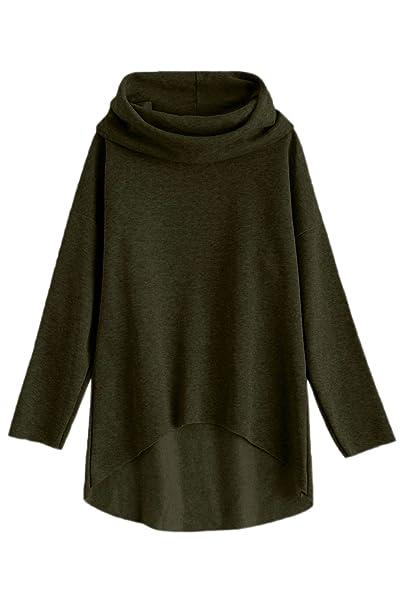 La Mujer Casual Con Capucha Abrigos Invierno High Low Loose Jersey Sudadera Top: Amazon.es: Ropa y accesorios