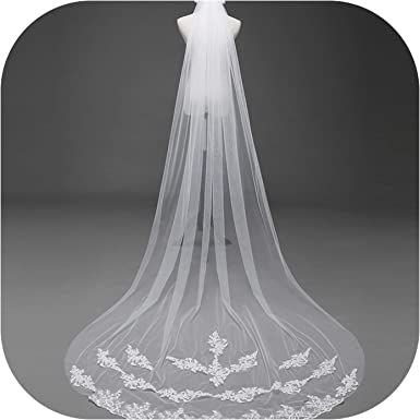 Babyonline Cathedral Wedding Bridal White Ivory 3M Veils Tulle Veil With Comb