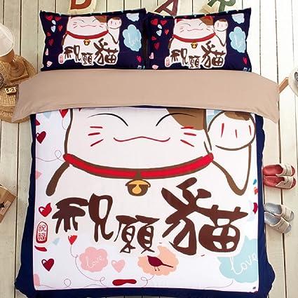 jibuteng Home Textiles mejor deseo gato de edredón Lovely sonriente gato ropa de cama Creative Cartoon