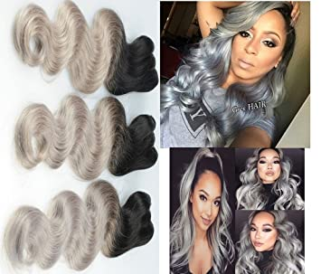 Amazon silver grey ombre human hair extensions brazilian silver grey ombre human hair extensions brazilian virgin hair weft ombre 1b grey body wave hair pmusecretfo Images