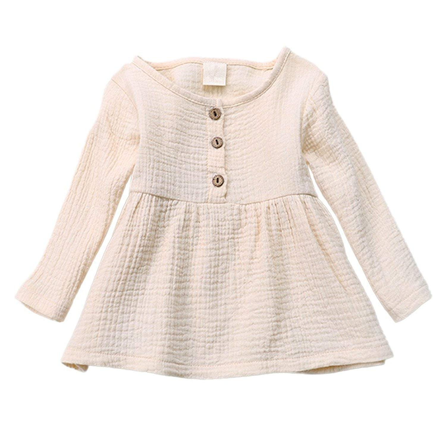 GObabyGO Baby Girls Round Neck Long Sleeve Cotton Linen Tops Dresses