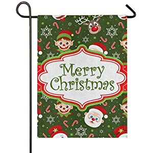 Christmas Santa Claus Burlap House Flag 28 x 40 Double Sided, Xmas Elf Candy Snowman Deer Garden Yard Flags, Rustic Welcome Winter Outdoor Banner for Party Home Christmas Decorations