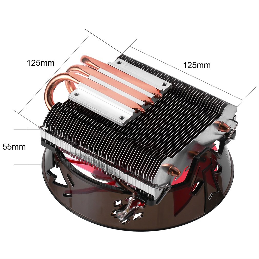Elepawl CPU Cooler Ultra Low Profile Silent Cooling Hydraulic Overclocking PC Computer Case Red LED Fan for Intel /& AMD