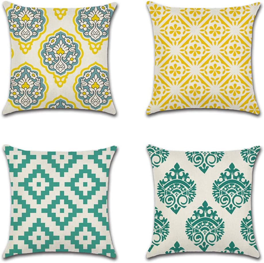 Jotom - Juego de 4 fundas de cojín con diseño de plantas tropicales, decorativas, para sofá, almohada, patrón geométrico, 45 x 45 cm, Geometría B., 45 x 45 cm