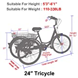MOPHOTO Adult Tricycles 1/7 Speed Three Wheel