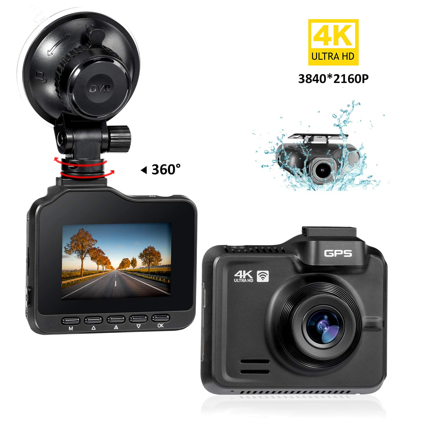Lifechaser Dual Dash Cam 4K+1080P Front and Rear Car Camera 3840x2160P WiFi GPS Night Vision, 2.4'' IPS Screen, 170° Wide Angle, Parking Mode, WDR, Time Lapse, G-Sensor, Loop Recording for Cars, Truck by Lifechaser