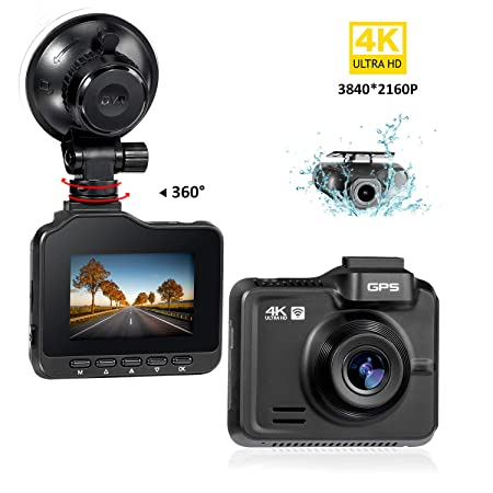 Lifechaser Dual Dash Cam 4K 1080P Front and Rear Car Camera 3840x2160P WiFi GPS Night Vision, 2.4 IPS Screen, 170 Wide Angle, Parking Mode, WDR, Time Lapse, G-Sensor, Loop Recording for Cars, Truck