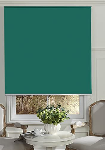 BERYHOME Cristal Blackout Room Darkening Roller Shades Blinds with Chain Cord. 20 Beautiful Colors Available. W49 xH68 , Emerald