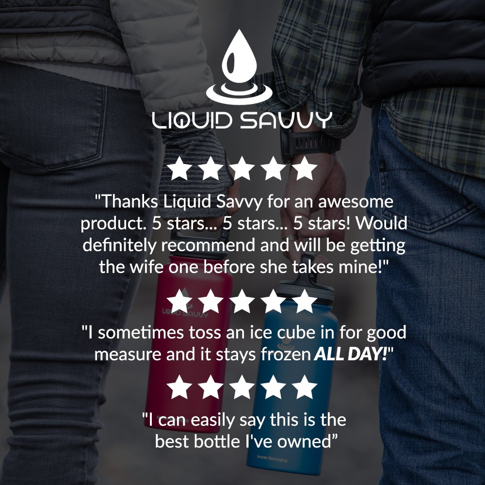 Liquid Savvy 24oz Insulated Water Bottle with 3 lids - Stainless Steel, Wide Mouth Double Walled Vacuum Insulated Bottle for Hot and Cold Beverages (Blue) by Liquid Savvy (Image #7)