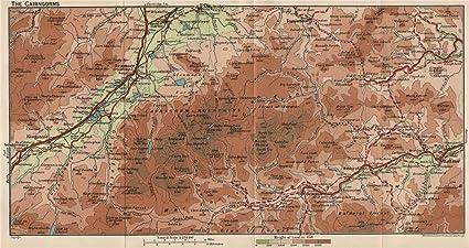 Cairngorms Vintage Map Plan Aviemore Ballater Kingussie Braemar