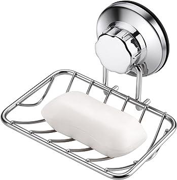 Soporte para Jabón de ducha Plato Rack No óxido Fuerte Succión De Acero Inoxidable Baño UK