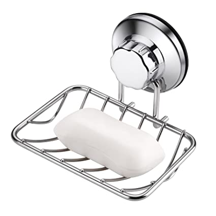 Seifenschalen & -spender Möbel & Wohnen Wall-mounted With Strong Vacuum Suction Cup Soap Dish Stainless Steel Holder