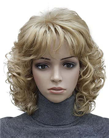 Amazon Com Kalyss Short Blonde Wig With Hair Bangs Women S Curly