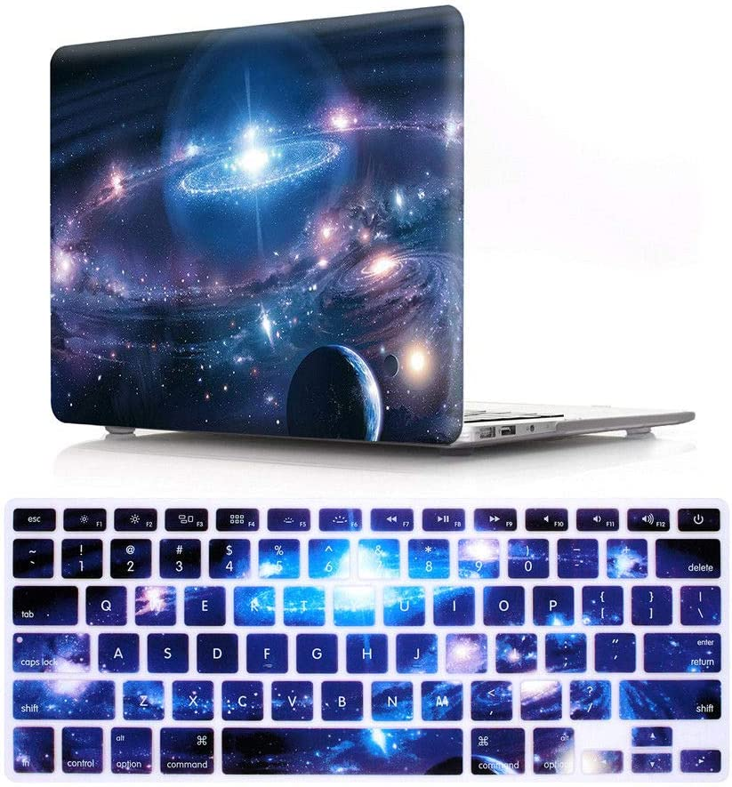 "HRH 2 in 1 Galaxy Universe Starry Sky Laptop Body Shell Protective Hard Case Cover and Matching Silicone Keyboard Cover for MacBook Air 13.3"" (A1466/A1369),Not Compatible 2018 Version A1932"