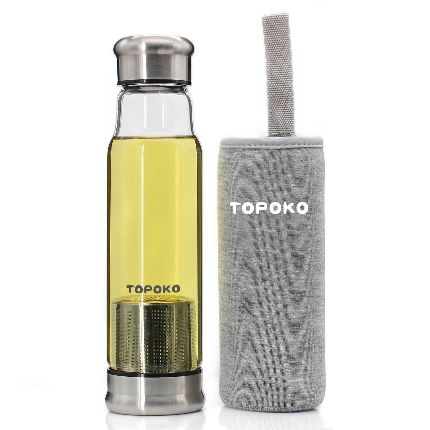 TOPOKO 18.5 Oz Glass Water Bottle-Extra Strong Crystal Glass Bottle With Portable Nylon Sleeve Handmade Leak Proof With Tea infuser (Grey)