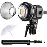 GVM 80W CRI97+ 5600K Dimmable LED Video Lights with Bowens Mount Kit Continuous Output Lighting Spotlight for YouTube Vlog St