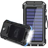 Solar Charger, 30000mAh USB C Portable Solar Power Bank with Dual USB/LED Flashlights, Waterproof External Backup Battery Pac