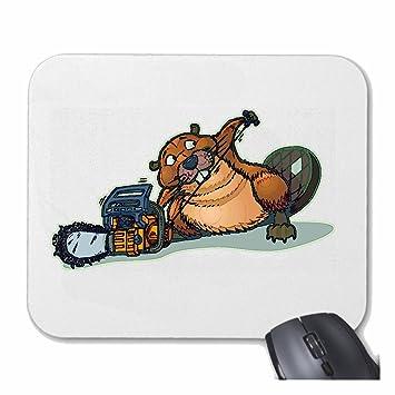 Reifen-Markt Mousepad Alfombrilla de ratón Bieber Works con la Motosierra ROEDOR castoreras Biberbau para