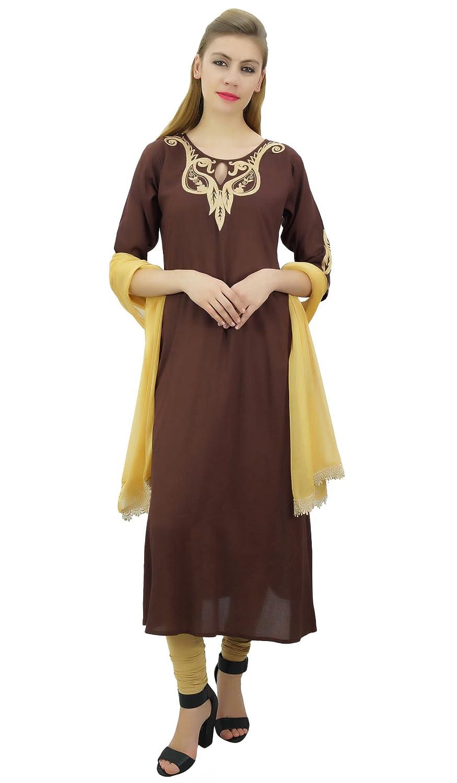 Atasi Ethnische Frauen Rayon Stickerei A-Line Kurti Designer Kleidung