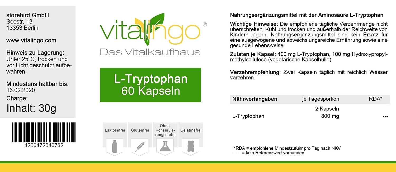 L-Tryptophan cápsulas aminoácidos - 500mg L-Tryptophan por cápsula: Amazon.es: Salud y cuidado personal