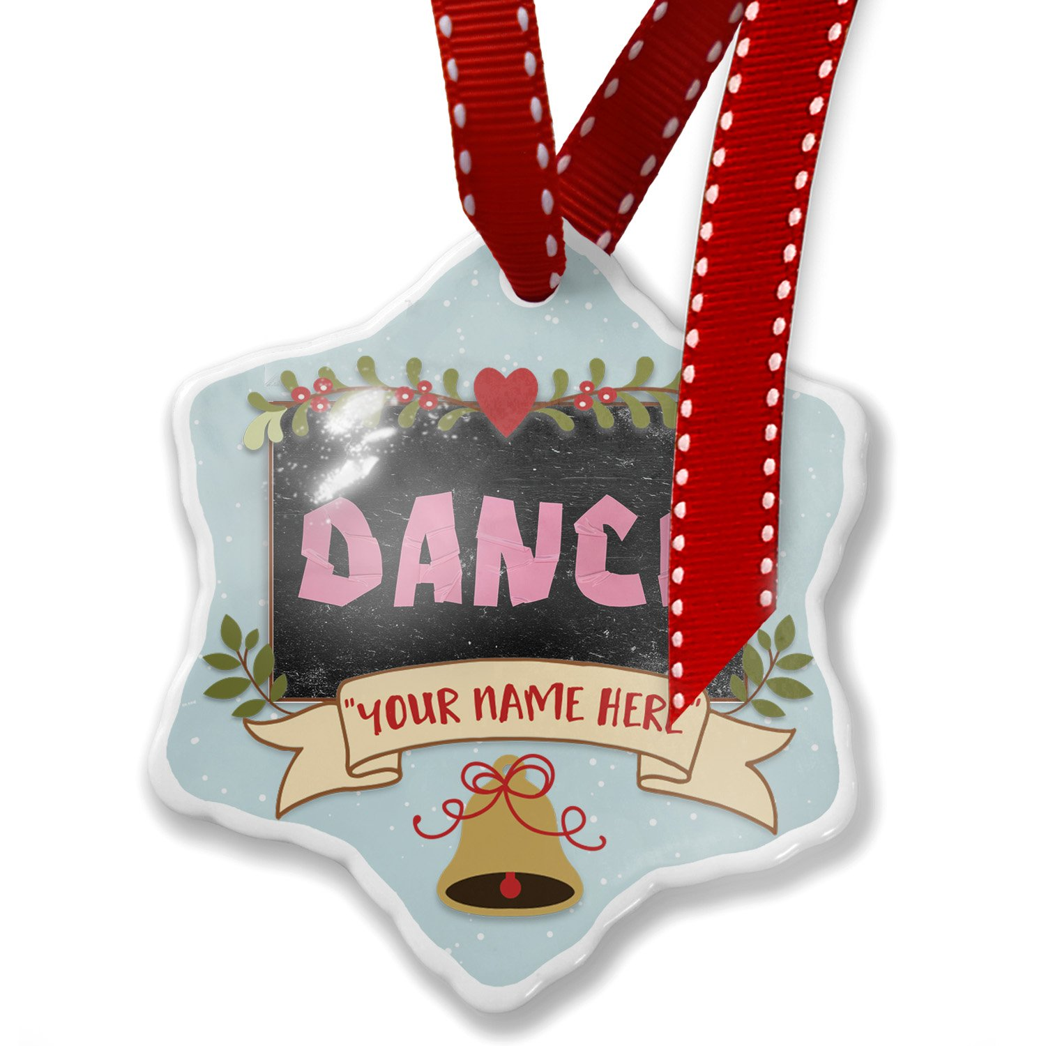 Add Your Own Custom Name, Dance Pink Punk Tape on Black Christmas Ornament NEONBLOND