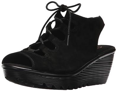5bf97f2ccd3b Skechers Women s Parallel Peep Toe Ghillie Slingback Wedge Sandal