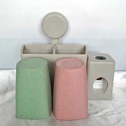 Soporte para cepillos de dientes Set con 2 tazas y automático dispensador de pasta de dientes