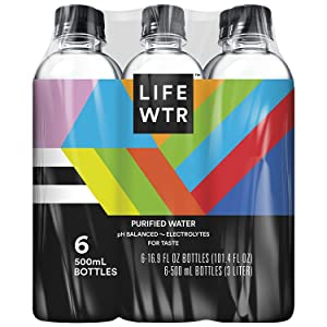 LIFEWTR, Premium Purified Water, pH Balanced with Electrolytes For Taste, 500 mL bottles (Pack of 6) (Packaging May Vary)