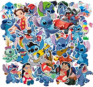 55 Pcs Stickers for Lilo&Stitch, Cute Cool Laptop Stickers for Girls Boys Teens Kids, Anime Carton Stickers for Water Bottle Computer Mac Pad Phone Case Hydro Flask Car Bumper Bike Anime Stickers
