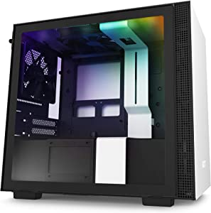 NZXT H210i - Mini-ITX PC Gaming Case - Front I/O USB Type-C Port - Tempered Glass Side Panel Cable Management - Water-Cooling Ready - Integrated RGB Lighting - Steel Construction - White/Black