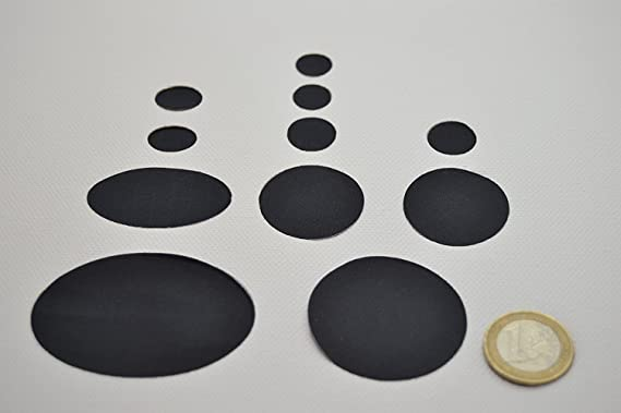 80 Pi/èces Patchs en Duvet Patch de R/éparation en Nylon Patch de R/éparation Auto-Adh/ésif Patch de Sac de Couchage pour R/éparation de V/êtements dExt/érieur Noir 8 Tailles en Forme Ronde et Ovale