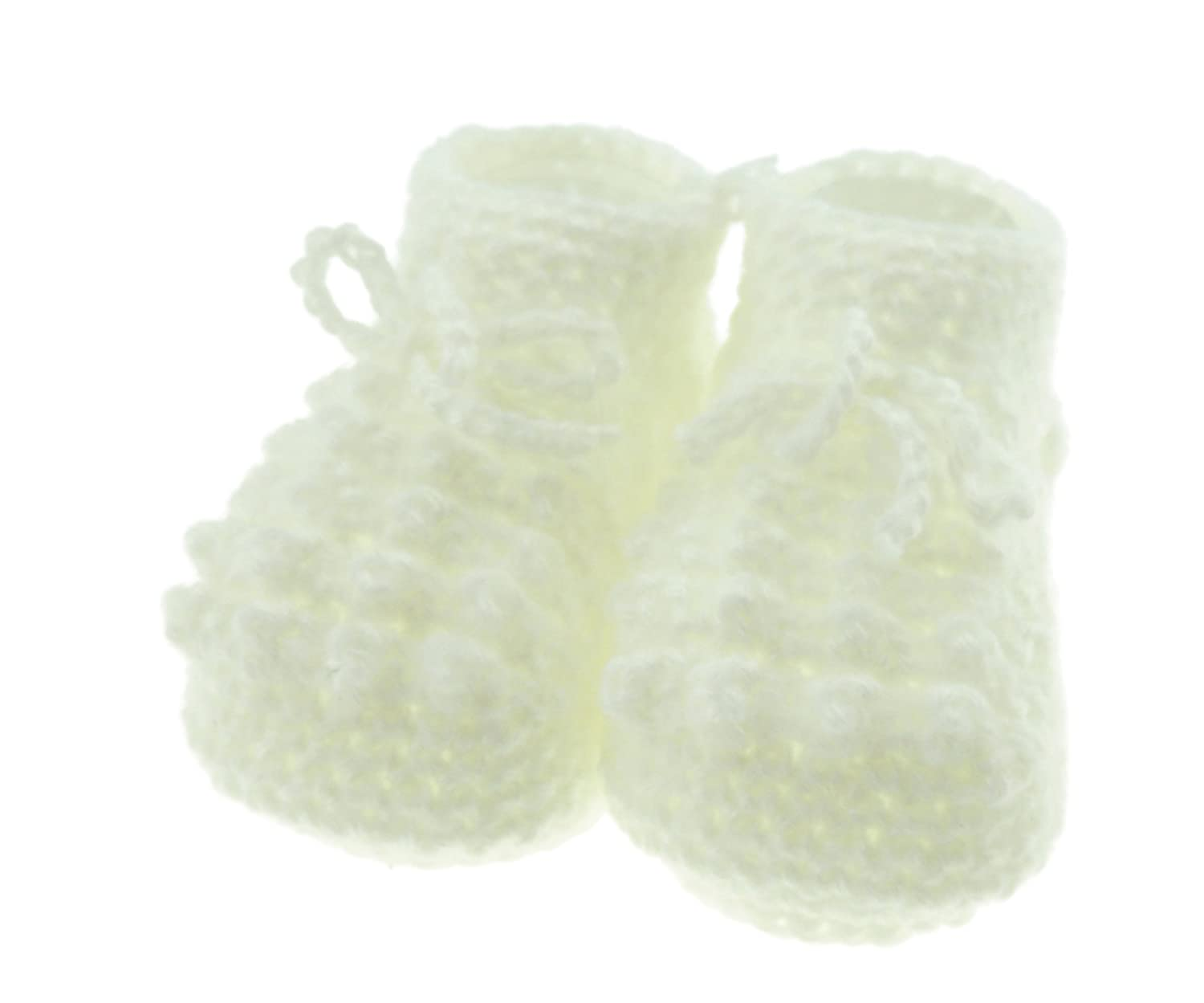 Baby Boys Girls Hand Knitted Soft Comfortable Booties Satin Bow Cream Glamour Girlz