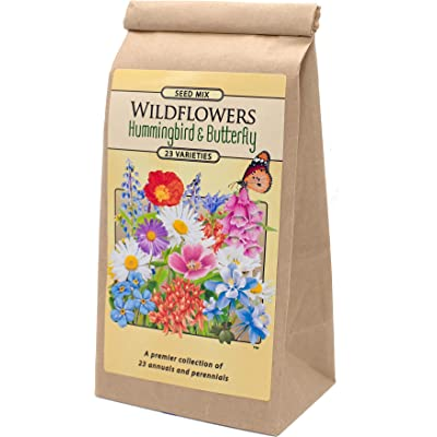 Wildflower Hummingbird and Butterfly Seed Mix - A Premier Collection of 23 Annuals and Perennials : Garden & Outdoor