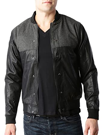 LE3NO Mens Vintage Faux Leather Varsity Bomber Jacket with