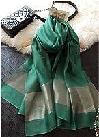 TICENTRAL レディースファッション 冷房対策 シルク オーガンジー シフォンの柔かなストール ショール スカーフ 薄手 羽織り 200×70cm (グリーン)