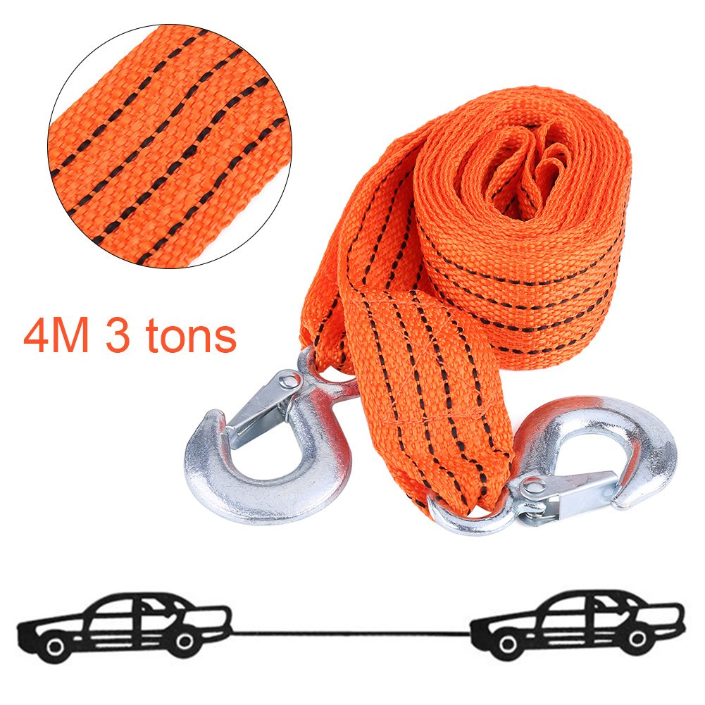 Cuque 4m Car Tow Rope Traction Rope with Traction Cable Hook Emergency Vehicle Tool Load 3 Tons High Strength Nylon Wire Forged Iron Orange Suitable For Most Car All Terrain Vehicles