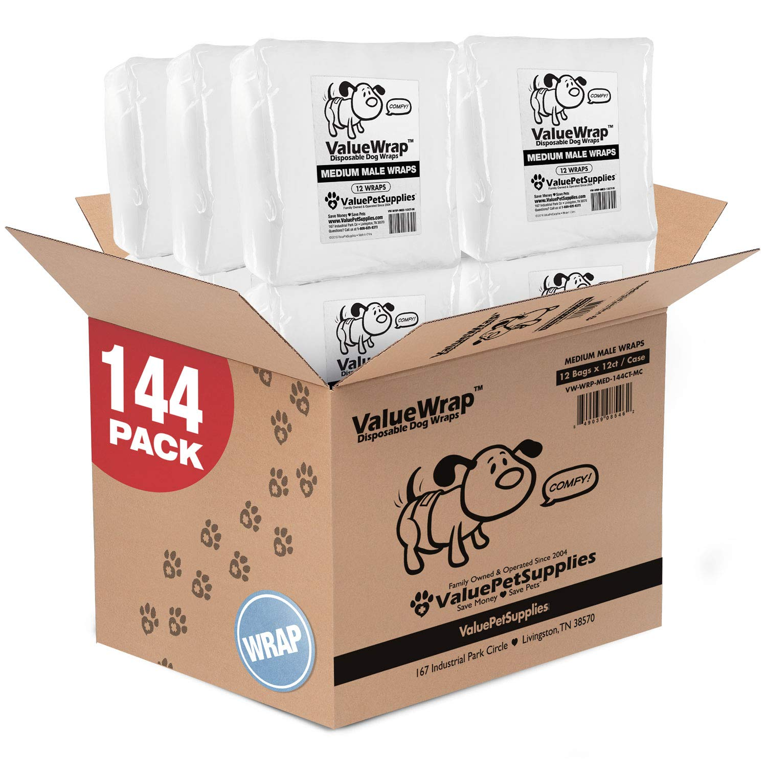 ValueWrap Disposable Male Dog Diapers, 2-Tab Medium, 144 Count - Absorbent Male Wraps for Incontinence, Excitable Urination & Travel | Fur-Friendly Fasteners | Leak Protection | Wetness Indicator by ValueWrap