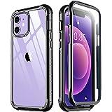 Temdan Capa para iPhone 12 Capa para iPhone 12 Pro com protetor de tela integrado, capa transparente de grau militar à prova