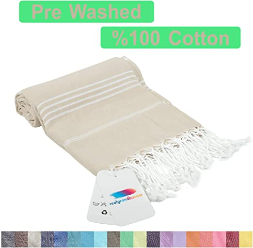 Oversized Beach Bath Peshtemal Sea Green and Cream Diamond Print Turkish Towel