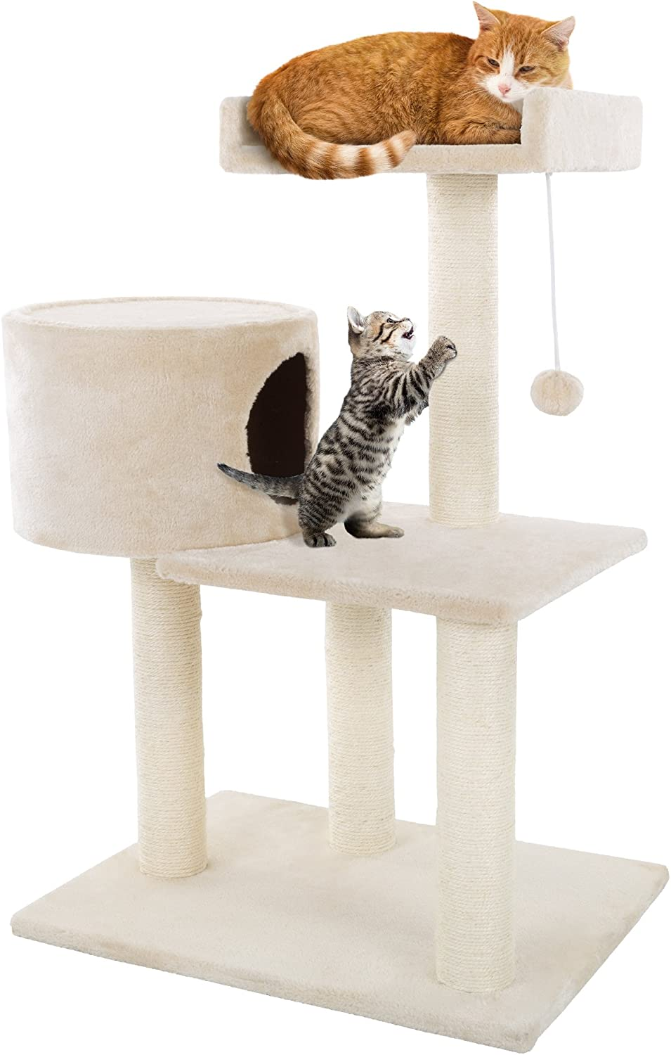 "3 Tier Cat Tree- Plush Multi Level Cat Tower with Scratching Posts, Perch Style Bed, Cat Condo and Hanging Toy for Cats and Kittens By PETMAKER (31"")"