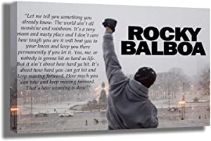 """Rocky Balboa Canvas Print   Motivational Quote Wall Art   Stretched and Framed   Boxing Office Decor for Men   Success Entrepreneur Boxing Gloves Ready to Hang , Large 16"""" x 24"""" Framed Canvas Artwork"""
