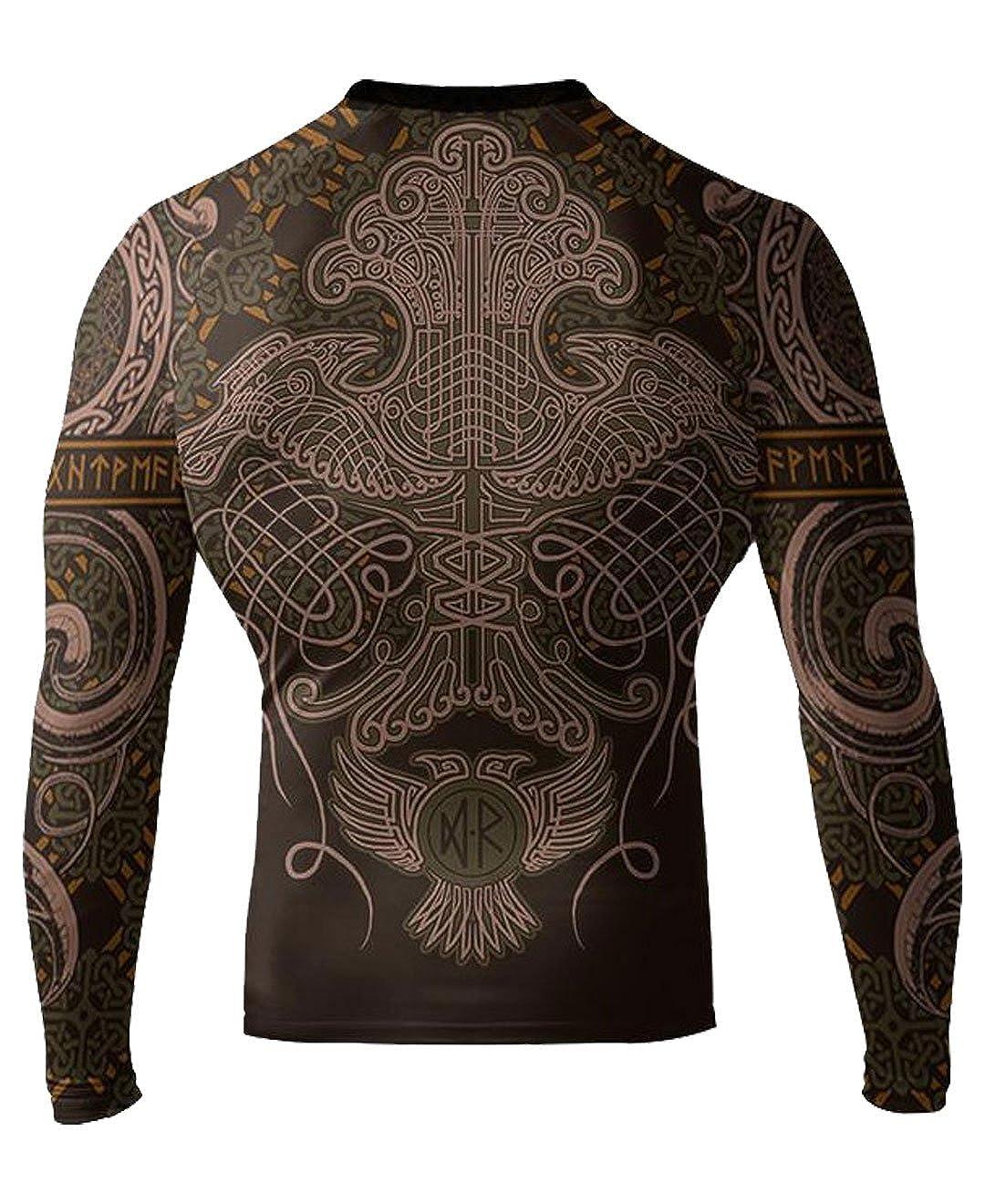 Steampunk Men's Shirts Raven Fightwear Mens Nordic IBJJF Approved Rash Guard $55.99 AT vintagedancer.com