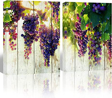 Amazon Com Mon Art Purple Grape Fruit Picture Wall For Kitchen Dining Room Decoration Watercolor Fruits Canvas Print Painting Artwork Prints On Modern Vintage Home Decor Framed 12 X16 X2p Green Posters