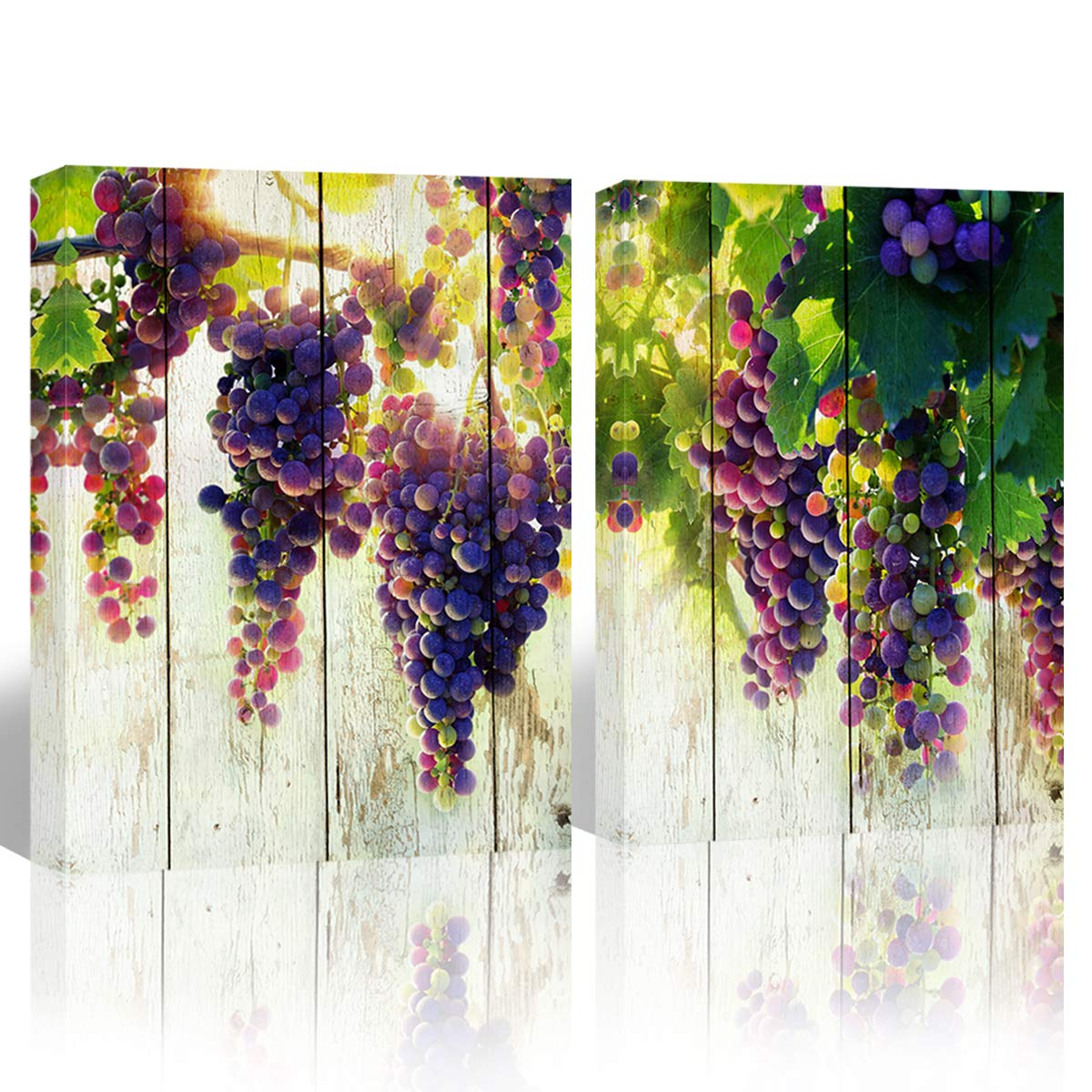 """Mon Art Purple Grape Fruit Picture Wall Art for Kitchen Dining Room Decoration Watercolor Fruits Canvas Print Painting Artwork Prints on Canvas Print Modern Vintage Home Decor Framed,12""""x16""""x2P,Green"""